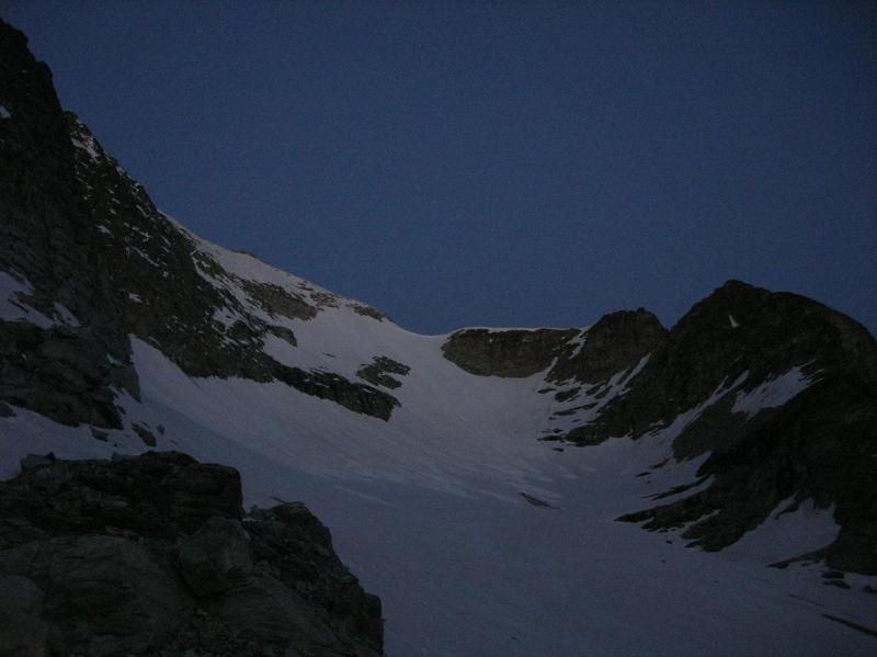 La parete alle prime luci dell'alba