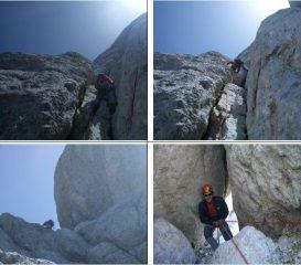 In basso a dx : corda doppia nel camino del Camino di Mezzo