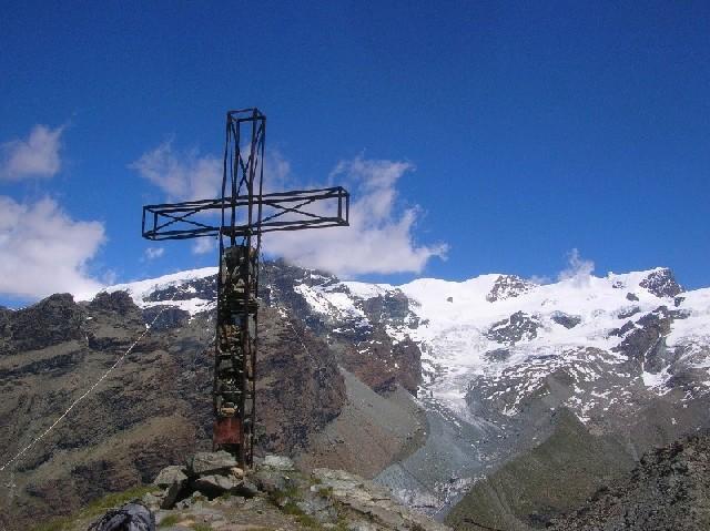 La cima del Palon con sullo sfondo i Breithorn e il vallone del Mezzalama