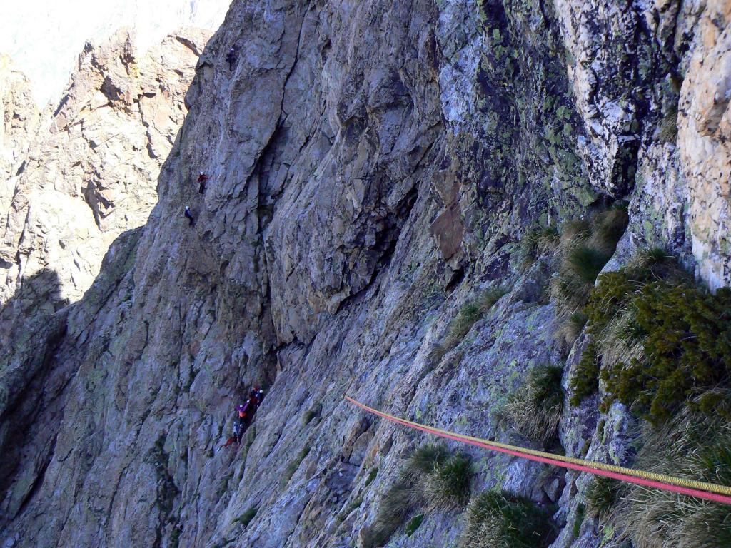 Il traverso di 60 m. e gente sui ''Lupetti''