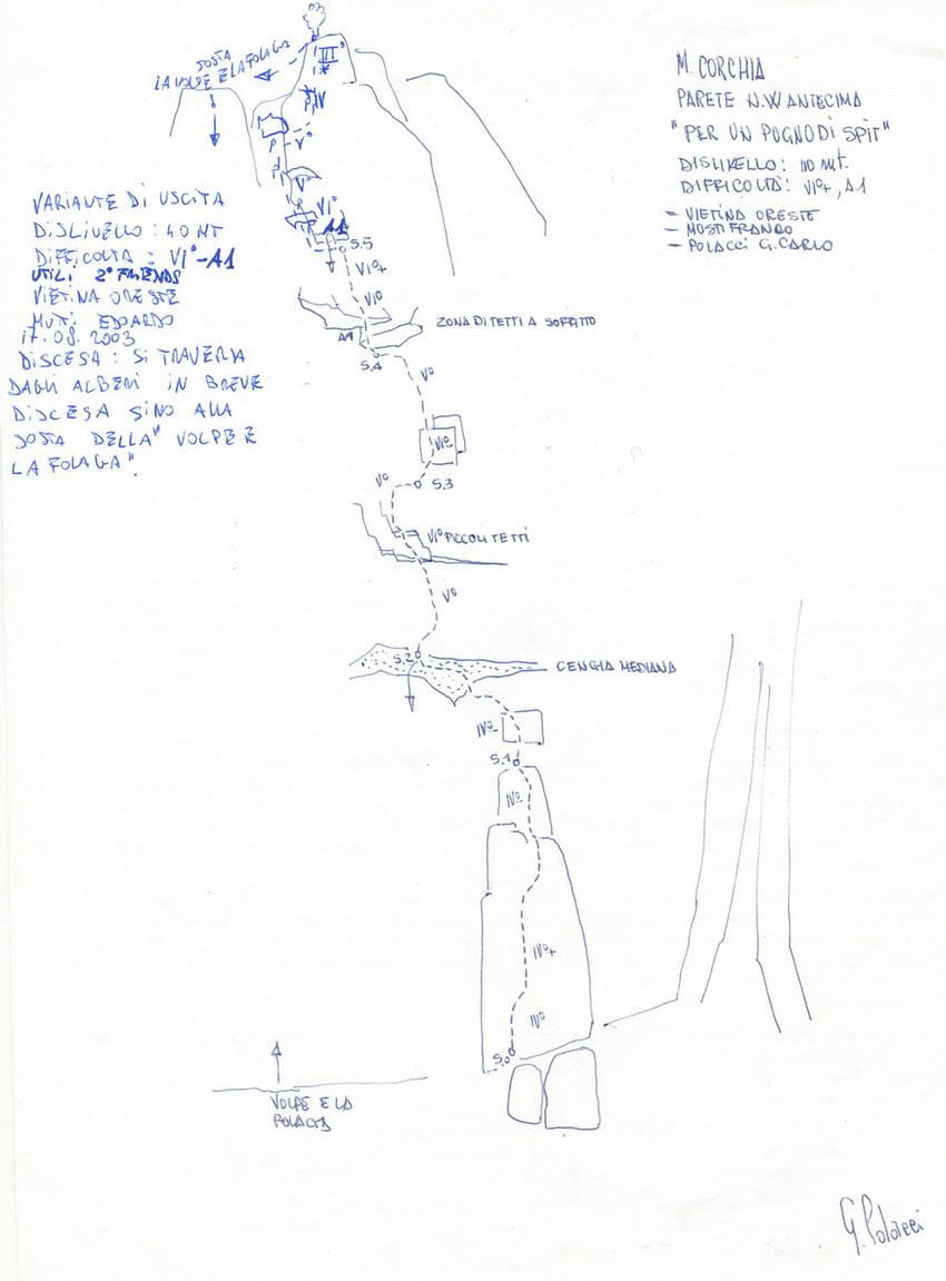 Corchia (Monte) Parete NO - Per un pugno di spit 2007-06-28