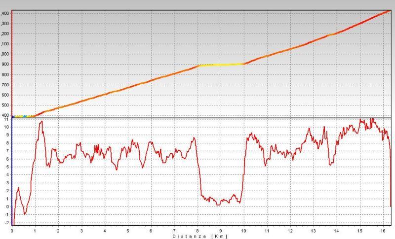 Profilo di altitudine e grafico delle pendenze.