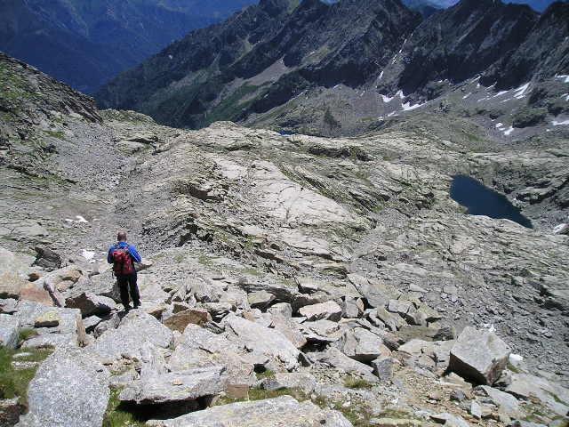 discesa verso la boccetta pin di mule e lago quota 2555