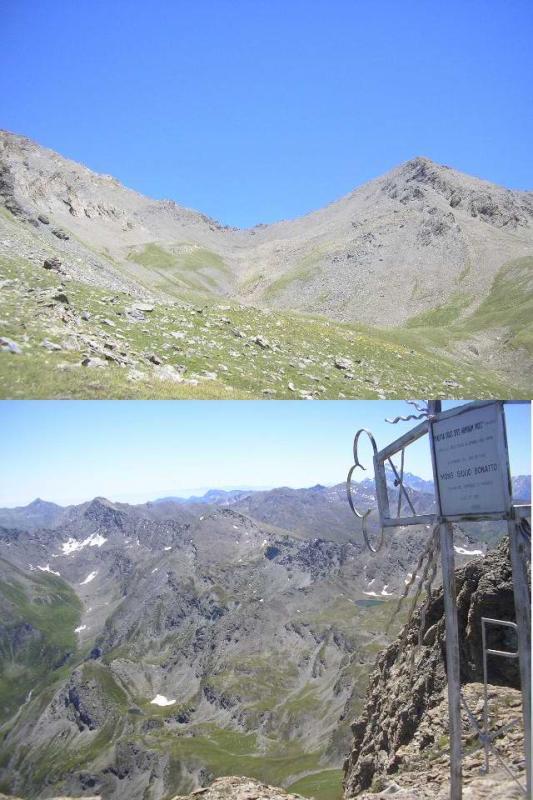 1 in vista della cima 2 panorama verso alta Val Troncea