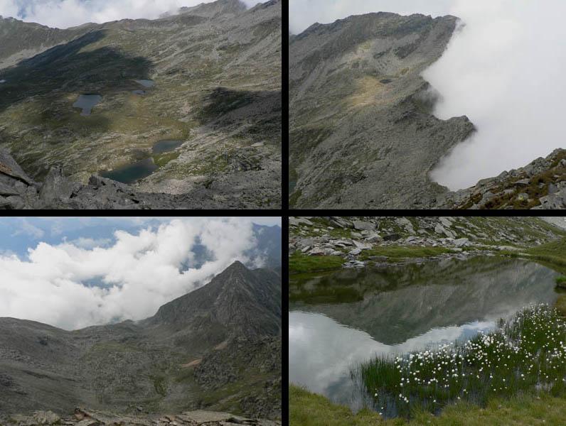 da sinistra in alto, senso orario: 1.dalla cima vista sui 13 laghi; 2.nebbia dalla Val Pellice; 3.vallone del Col Rousset; 4. il Cournour si specchia nel lago, con eriofori.