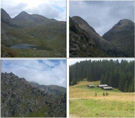 1)Lago Lusia e C.Bocche 2)Bocche e Gronton 3)Forcella Cajerin 4)malga Colvere
