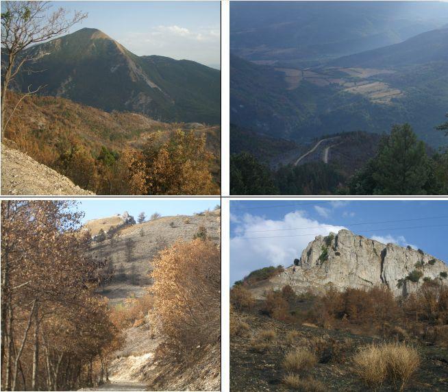 1)la Schiena d'Asino del Morrone 2)panorama verso la piana Somma;vedi it. valle gemmina 3) e 4) Roccatagliata