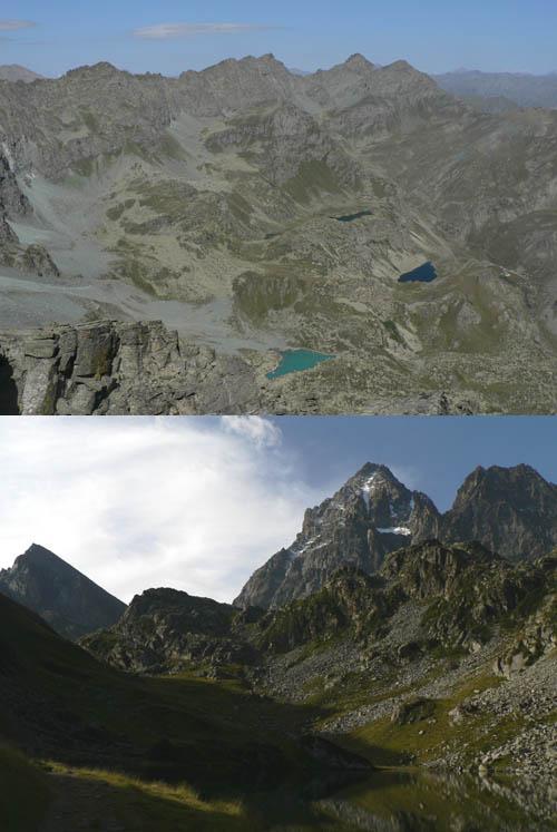 in alto: panorama verso nord; sotto: Viso Mozzo e Viso dal lago Fiorenza.