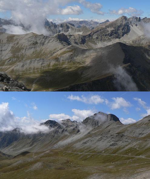in alto, verso ovest, dalla vetta; sotto, vallone della Tra versiera.