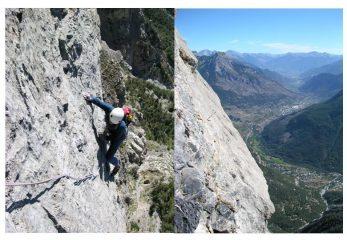 Sulla settima lunghezza; vista sulla valle della Durance dalla traversata superiore