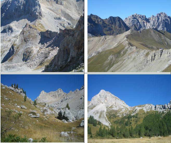 1)Passo Paschè dalla vetta 2)Passo S. Nicolò e il Colac 3)Val Ombert e C. Cadine 4)Col Ombert