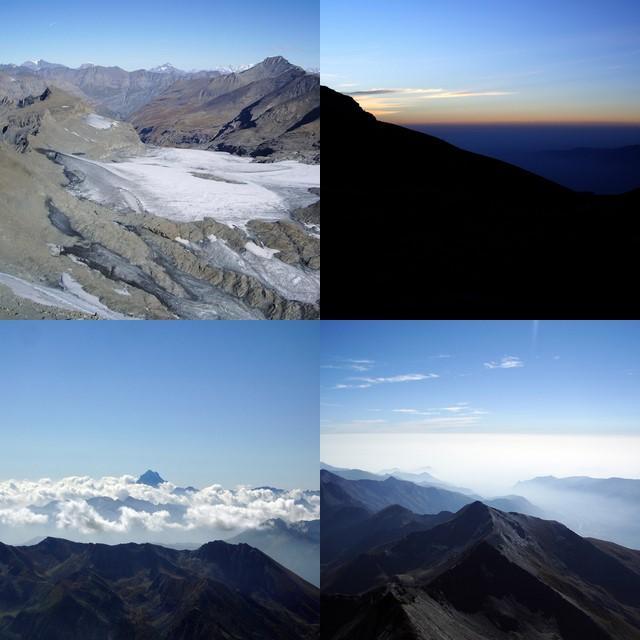 in ordine sparso: alba,ghiacciaio,monviso,panorama rotolando verso est (altre foto presto su aggiornatoconlentezza.blogspot.com)