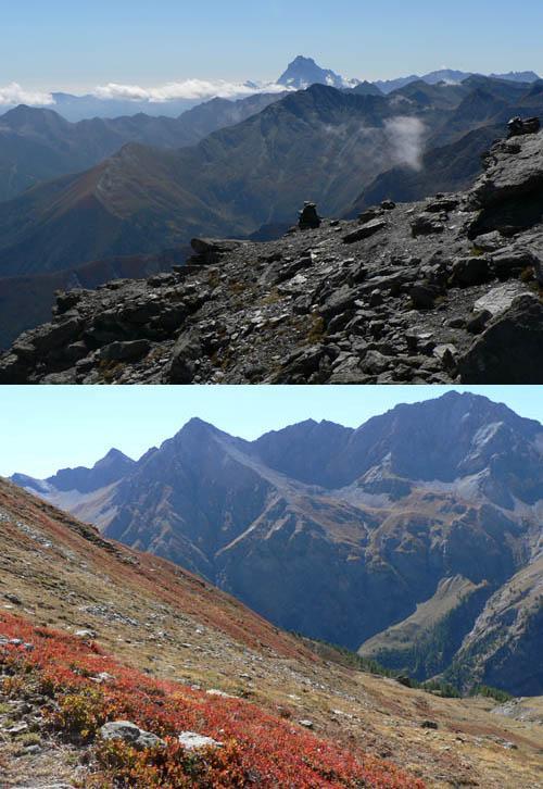 in alto: profili, dalla punta; sotto: primi colori dell'autunno.
