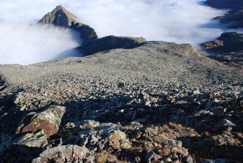 pabnorama dalla cima: il pendio che porta dal colle del Vallonetto alla cima. sullo sfondo il bec del Fauset