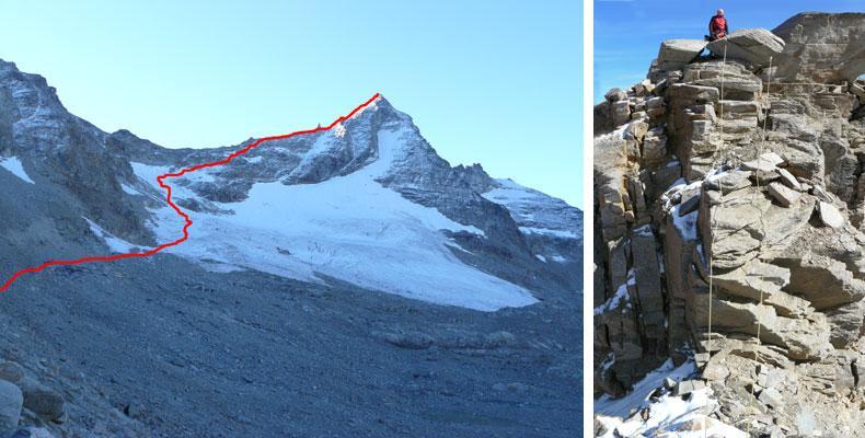 A sinistra l'itinerario della normale; a destra il salto roccioso.
