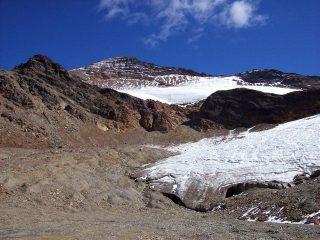 il versante ovest con la vedretta del Tresero e la sua fronte