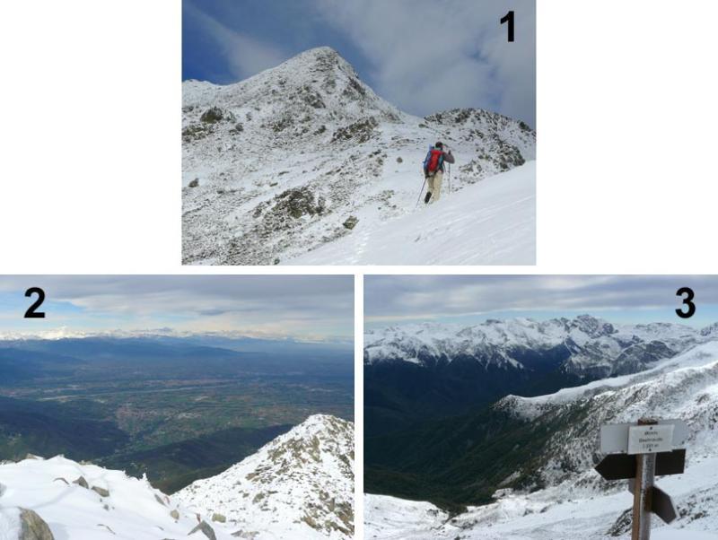 1. Salendo verso la cima; 2. Vista verso Cuneo; 3. Vista sulle Alpi Liguri