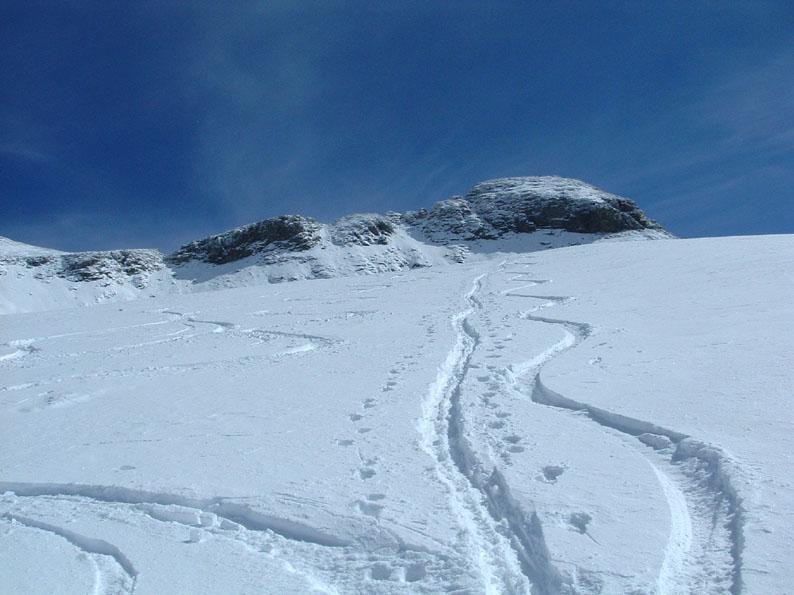 la discesa sul ghiacciaio