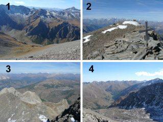 1. versante di salita; 2. vetta; 3. vista sull'alta val susa; 4. vista sulla valle argentera