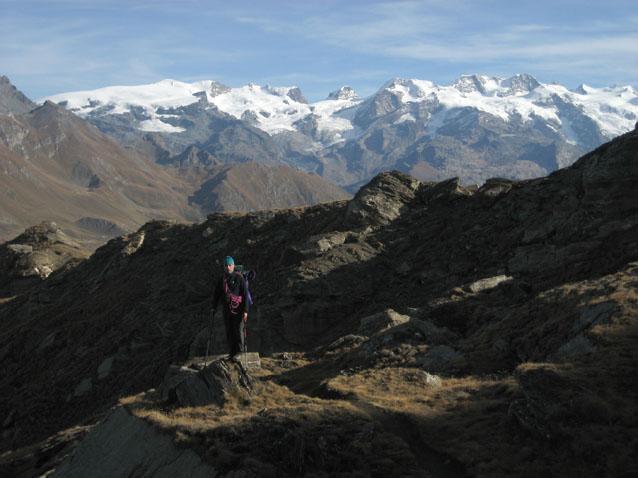 Nicola e il gruppo del Monte Rosa alle spalle