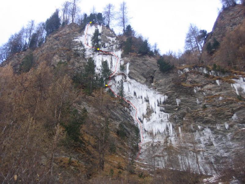 La cascata e la linea di salita