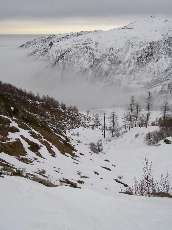Dal colle del Vallone il versante di salita