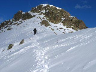 Giorgio e Luca nella parte alta della cresta, verso l'anticima (30-12-2007)