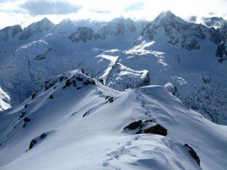 la parte finale della cresta seguita, vista dalla cima (30-12-2007)