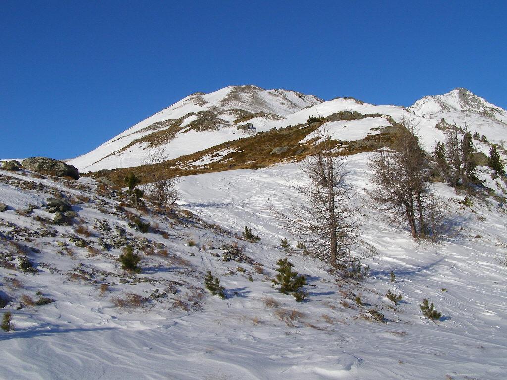 La parte alta del percorso, quasi priva di neve