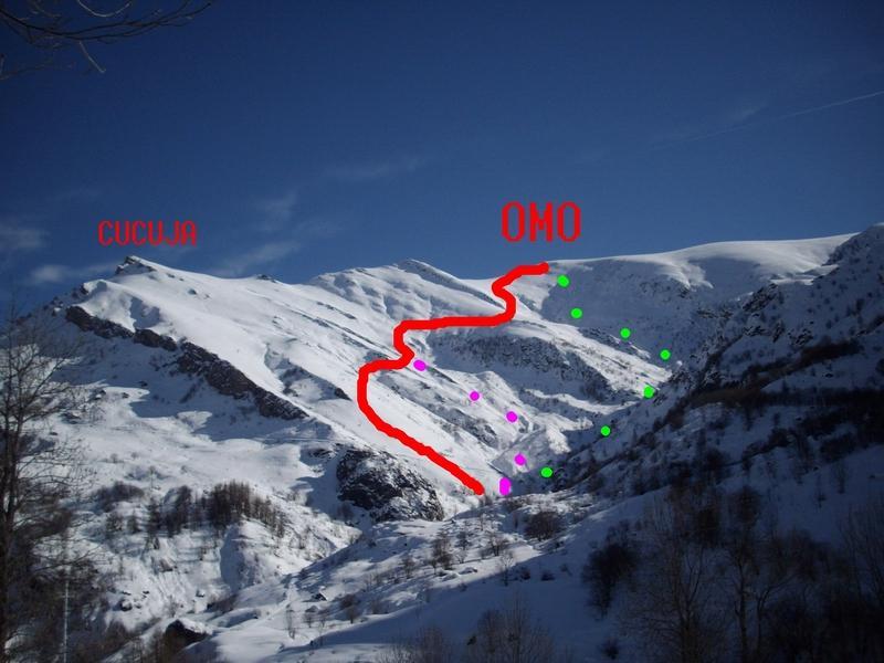 salita (in rosso) e varianti di dicesa percorse oggi
