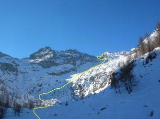 Dall' Alpe la Moja il percorso per la cima del Mont Debat.