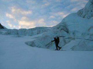 salita sul ghiacciaio di Laveciau