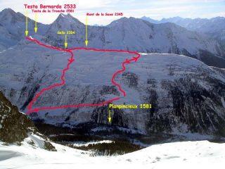 I monti de la Saxe e testa bernarda dal ghiacciaio sotto il dente del Gigante
