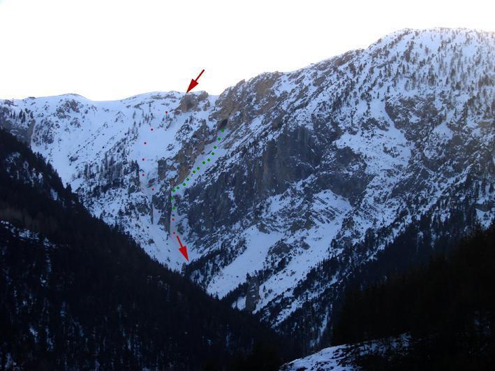In rosso il canale della grotta,in verde il ramo destro