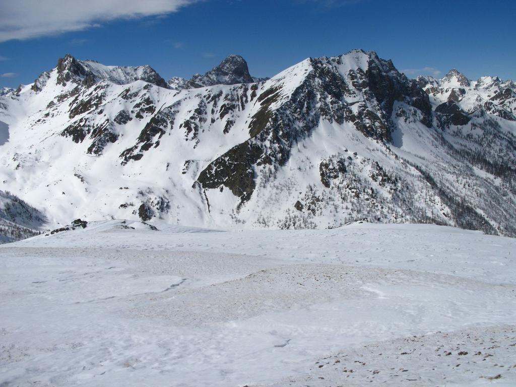 panorami osservati dalla cima del Monte Pelvo : dal Becco Grande (a sinistra) al Monte La Bianca (a destra) (25-3-2008)