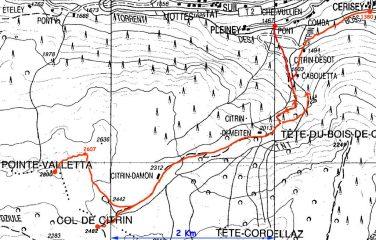 mappa CTR 1/50.000 con itinerario tracciato