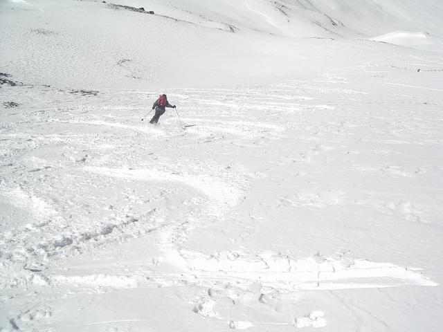 Neve triturata nella parte alta