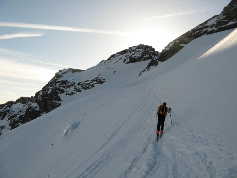 traverso nel ripido ghiacciaio di Bassac
