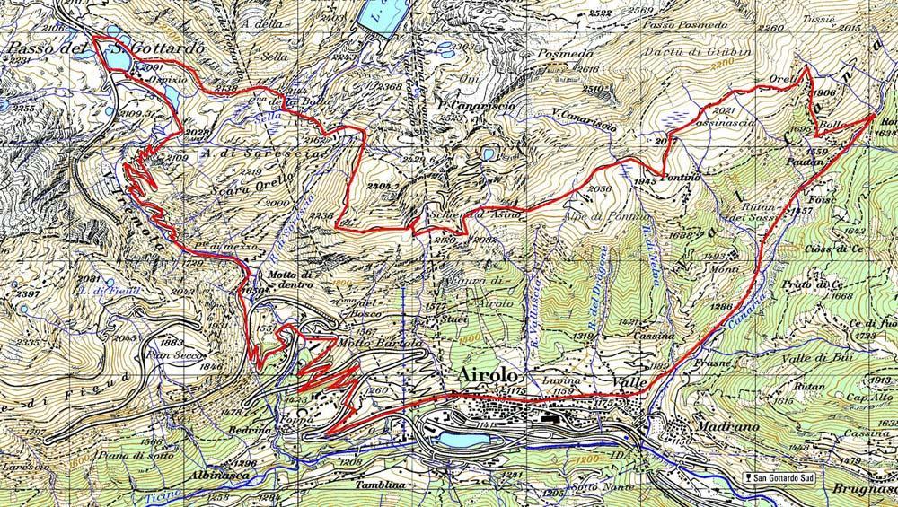 mappa giro alpeggi Gottardo