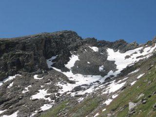 In alto, la depressione fra la Punta della Balma e l'antecima della Rosa dei Banchi; a sinistra si vedono le reccette su cui si svolge la salita