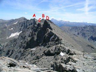 La cresta vista dalla Punta Clapiera Settentrionale. A Serpentiera, B Pelvo, C quota 3.226, D Punta Clapiera Meridionale