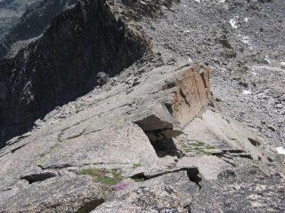 La via di salita dal colletto, vista dall'alto
