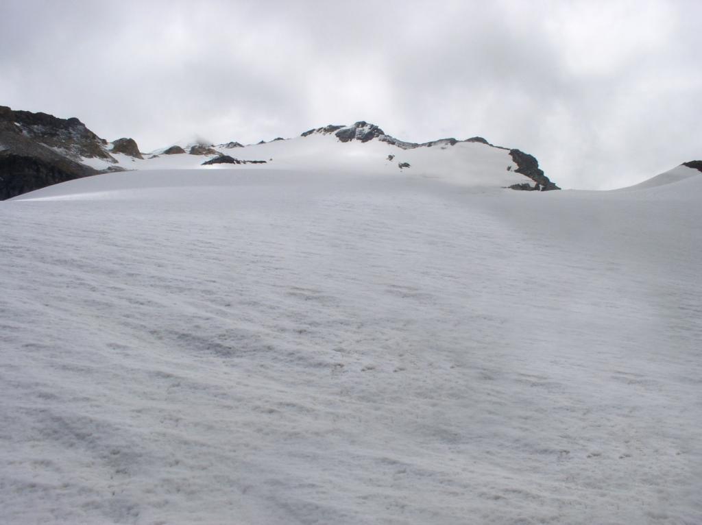 il ghiacciaio di Basagne verso la cima