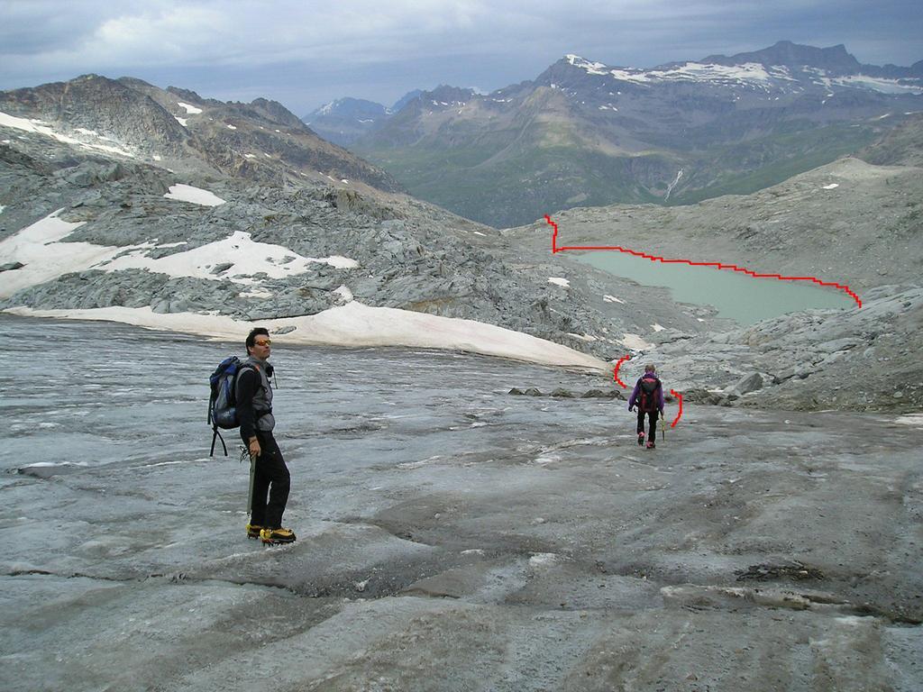 discesa sul ghiacciaio