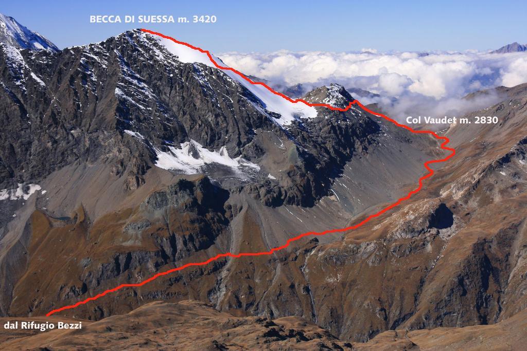la Becca di Suessa e il percorso seguito (21-9-2008)