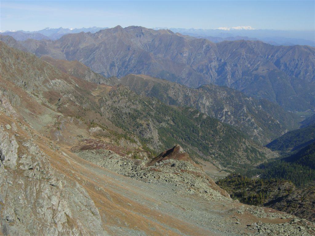 La parte alta del vallone e il Rosa in fondo