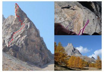 La torre con la via di salita; il sesto tiro, vuoto assoluto sotto i piedi; i colori dell'autunno in Alta Clarèe