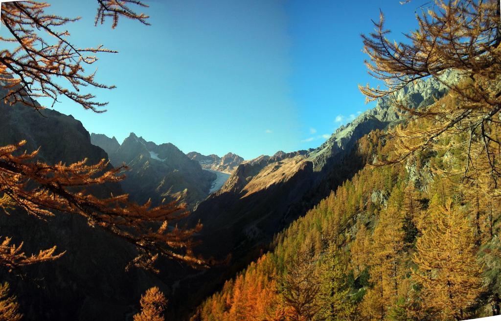 Dall'uscita, piacevole scorcio sul Glacier Blanc