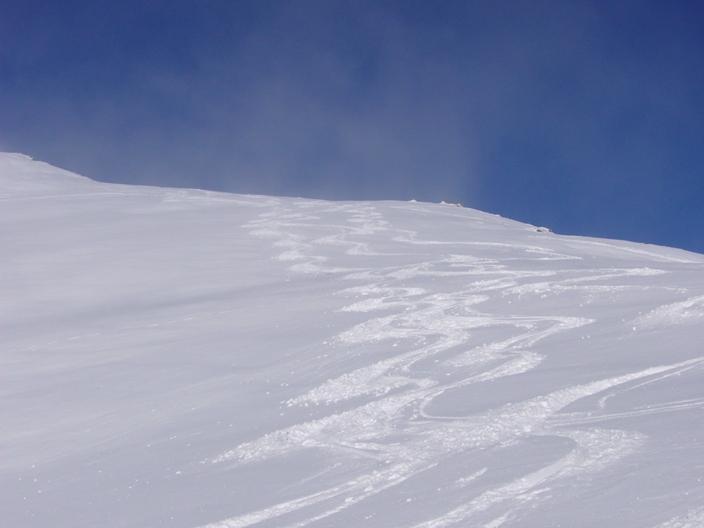 Bella discesa su neve farinosa