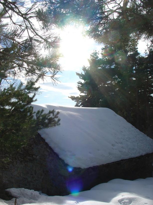 la casetta nel bosco, coperta di neve